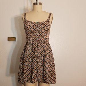 Floral Boho Shirred Back Dress